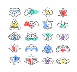 Color shapes and line geometrical flowers