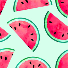 Fruity seamless vector pattern with watercolor paint textured watermelon pieces.