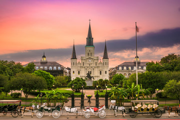 St. Louis Cathedral at Jackson Square, New Orleans, Louisiana. Fotomurales