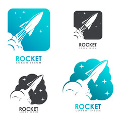 Rocket. Set of logo templates with rocket launch.