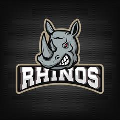 rhinos. sport team emblem.