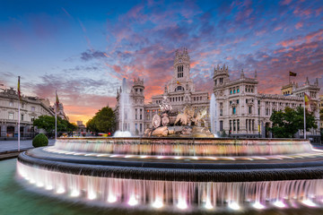 Autocollant pour porte Fontaine Madrid Spain Fountain and Palace