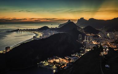 Rio De Janeieo high angle sunset view, Brazil