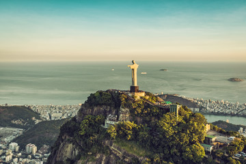 Aerial view of Christ Statue with people visiting Corcovado Hill