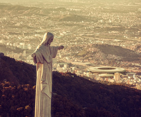 Aerial view of Christ Statue looking at Maracana Stadium