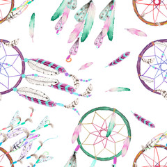 Seamless pattern with dreamcatchers and feathers in the air, hand drawn in watercolor on a white background