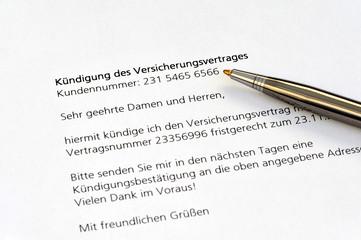 Versicherungsvertrag, Kündigung, Vertrag, Anschreiben, Versicherungsrecht, Versicherung, Versicherungsschutz, Tarif, Kündigungsfrist, Schriftform, Vertragsrecht, Verbraucher