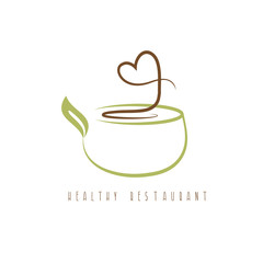 healthy restaurant concept with heart and pot