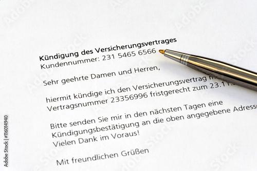 Versicherungsvertrag Kündigung Vertrag Anschreiben