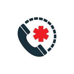 life star medical emergency phone icon on white background