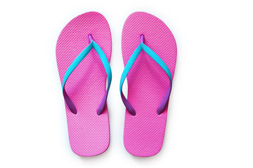 Pink flip flops isolated on white background. Top view