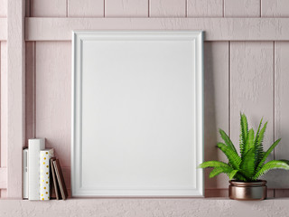 Mock up frame on rose wooden wall, 3d rendering