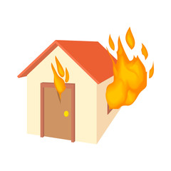 House is on fire icon in cartoon style isolated on white background. Disaster symbol
