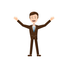 Businessman with raised arms icon in cartoon style isolated on white background