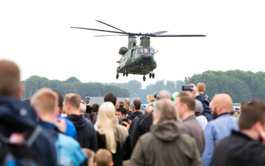 LEEUWARDEN, NETHERLANDS - JUNE 11 2016: Chinook CH-47 military h