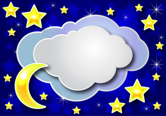 night paper cloud crescent and star