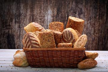 Various types of bread in basket