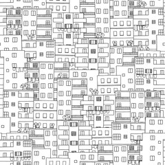 Hand drawn seamless pattern of middle Eastern houses (taken from Cairo, Egypt)