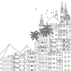 Cairo, Egypt, hand drawn black and white illustration with space for text