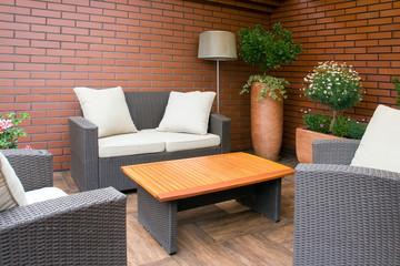 Outdoor furniture in the garden