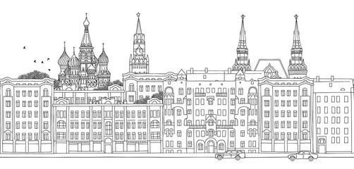 Moscow, Russia - seamless banner of Moscow's skyline, hand drawn black and white illustration