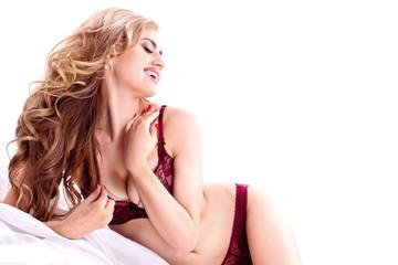 Romantic woman in lingerie relaxing.