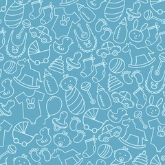 Baby shower doodle seamless pattern. Blue background
