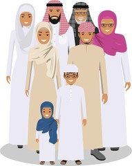 Family and social concept. Arab person generations at different ages. Muslim people father, mother, son and daughter standing together in traditional islamic clothes. Vector illustration.