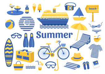 Set of vector summer