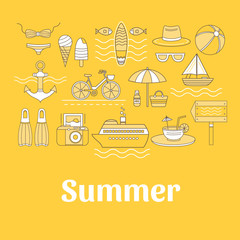 Set of vector summer