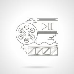 Cinema reel detailed line vector icon