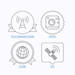 Photo camera, globe and gps satellite icons.