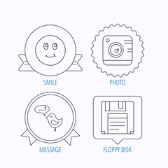 Photo camera, floppy disk and message icons.
