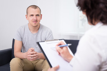new job concept - happy man at interview