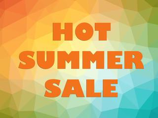 Hot summer seasonal sale banner orange letters on rainbow background