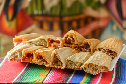 Colorful Traditional Mexican food dishes