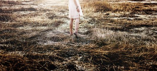 Field Solitude Teanquil Woman Journey Explore Concept