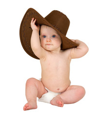 Baby on a white background with cowboy hat