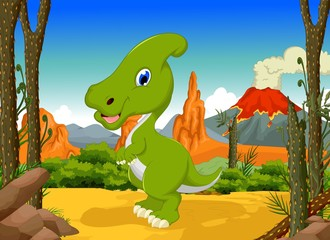 funny Dinosaur Parasaurolophus cartoon with forest landscape background