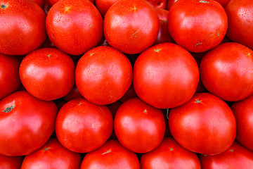 Fresh organic red tomatoes at a local farmers market.