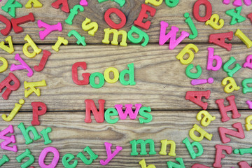 Good news on wooden table