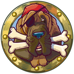 Cartoon Pirate Bloodhound Dog Mascot with Bones in Porthole
