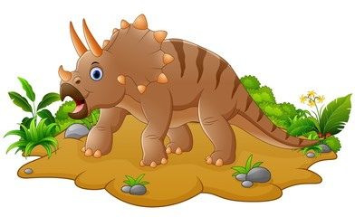 Cute and young cartoon triceratops