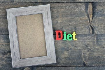 Diet on wooden table