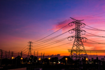 High Voltage Substation and Equipment ,sunset
