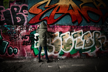 Hooded girl finishing graffiti