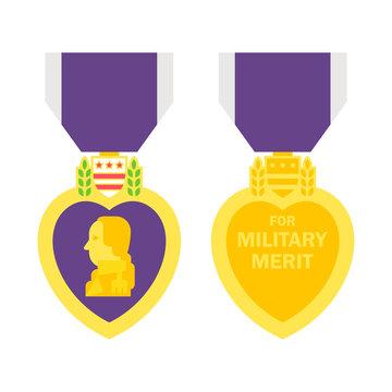 Flat design purple heart medal
