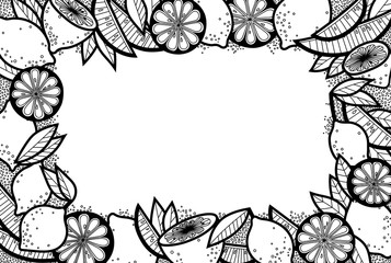 Black and White Doodle Background of Lemons, Lemon Slices and Leaves. Vector Fruit Frame. Art Food Border from Isolated Elements