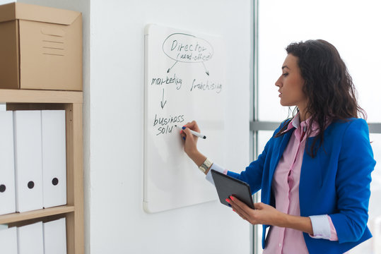 Young woman planning writing day plan on white board, holding marker in right hand
