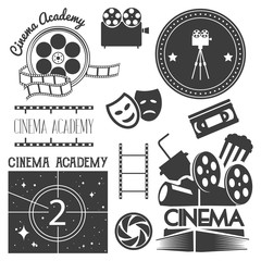 Vector set of cinema logo, labels. Movie studio and theater badges, emblems, signs. Illustration in vintage retro style.